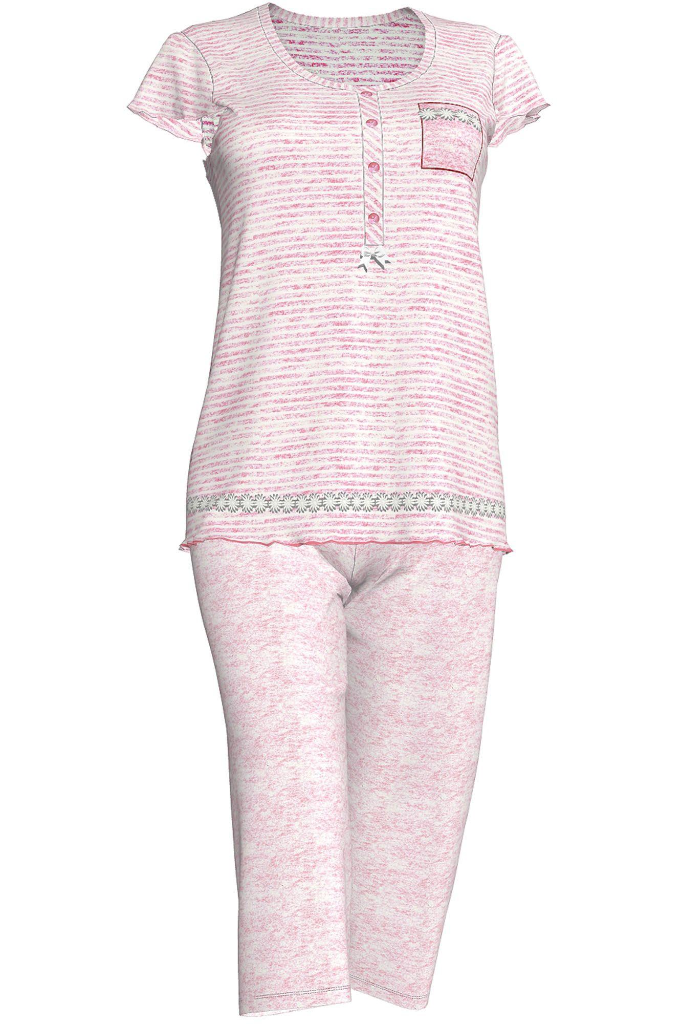 Dámské pyžamo 3086 - Vamp Barva: růžová proužky, Velikost: S