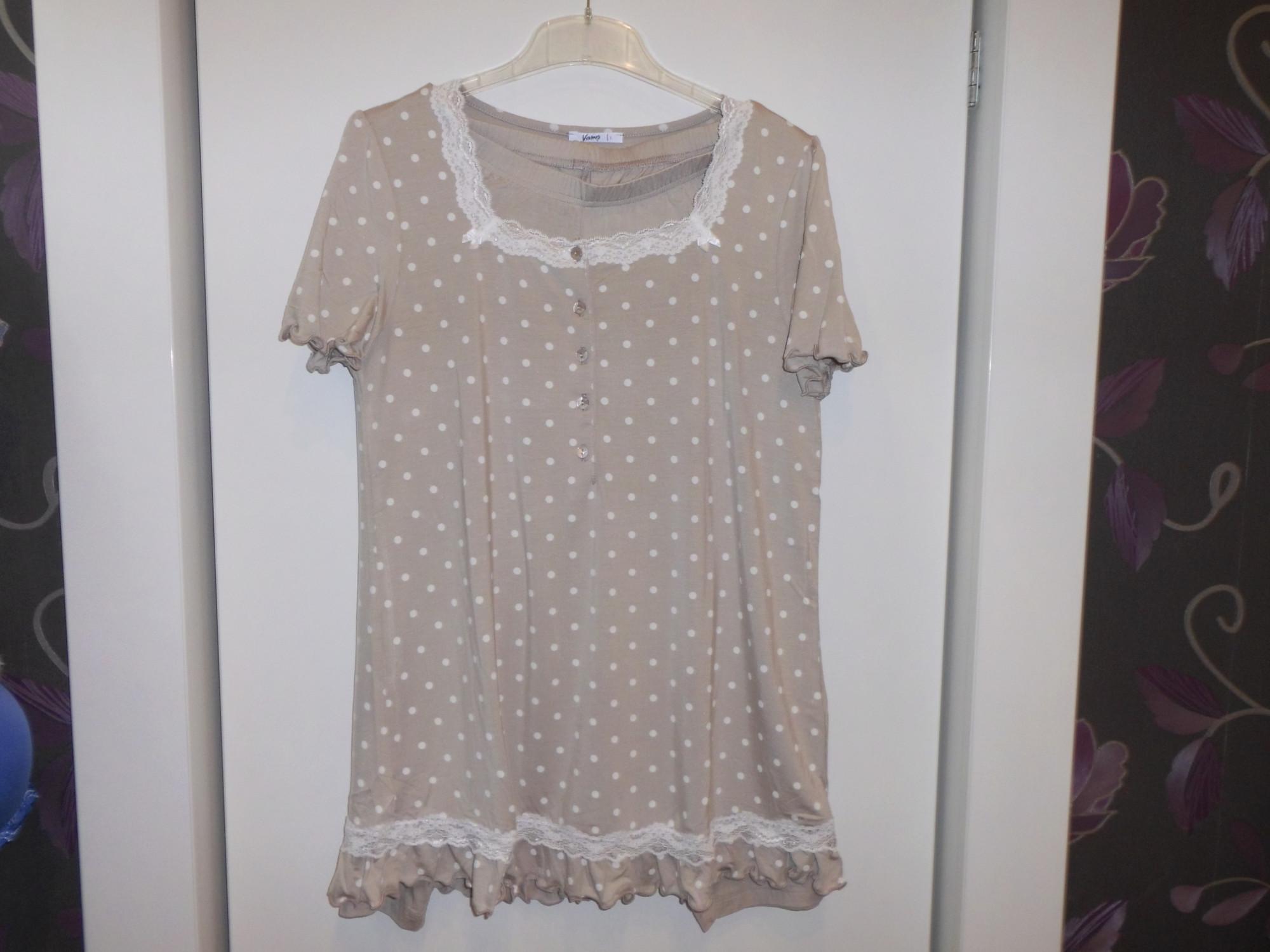 Dámské pyžamo 3140 -Vamp Barva: béžová/bílý puntík, Velikost: L