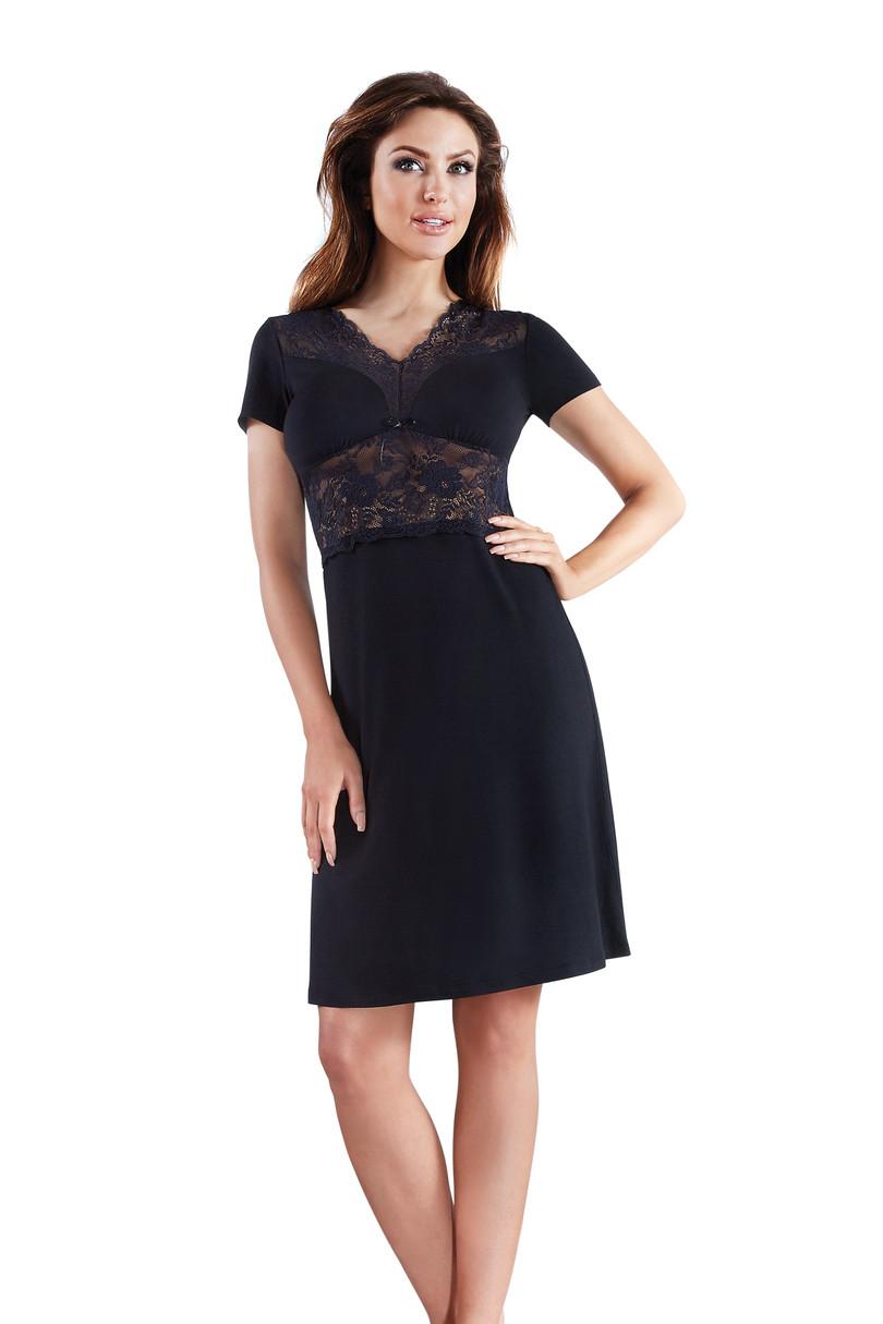 Dámská noční košile Vega - Babella Barva: černá, Velikost: L