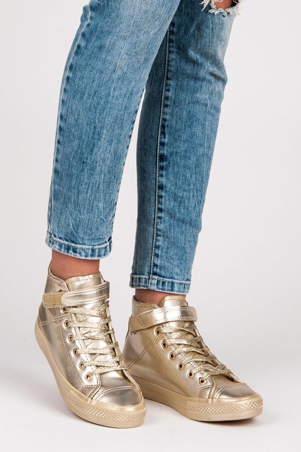 Dětské efektní zlaté kotníkové boty - Gemini Barva: zlatá, Velikost: 37
