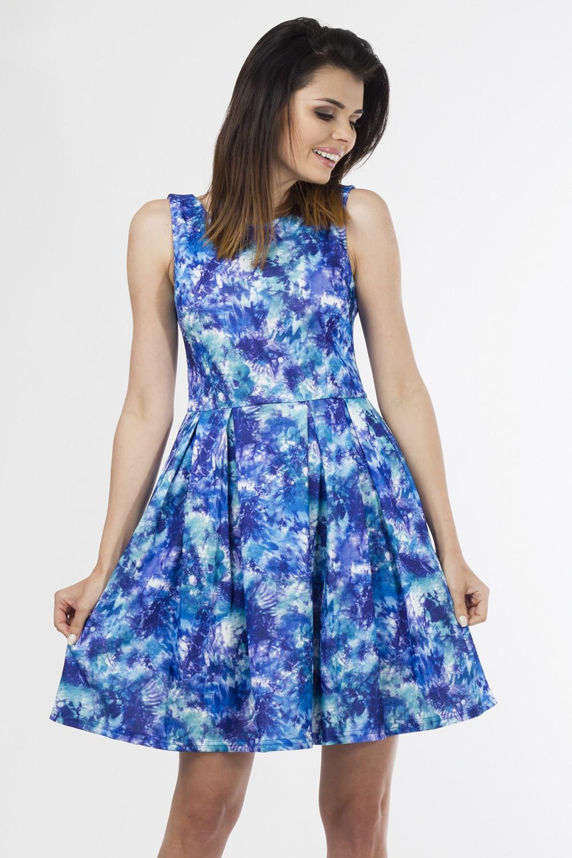 Denní šaty model 58433 - Depare Barva: bílo-modré květy, Velikost: L