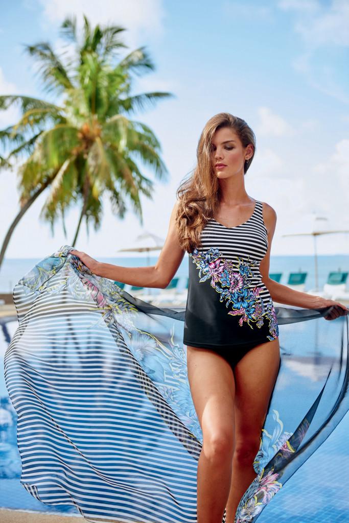 Dvoudílné plavky Camille L7 8445 originál (009) - Anita Barva: černá s květinovým a pruhy vzorem, Velikost: 42/85C