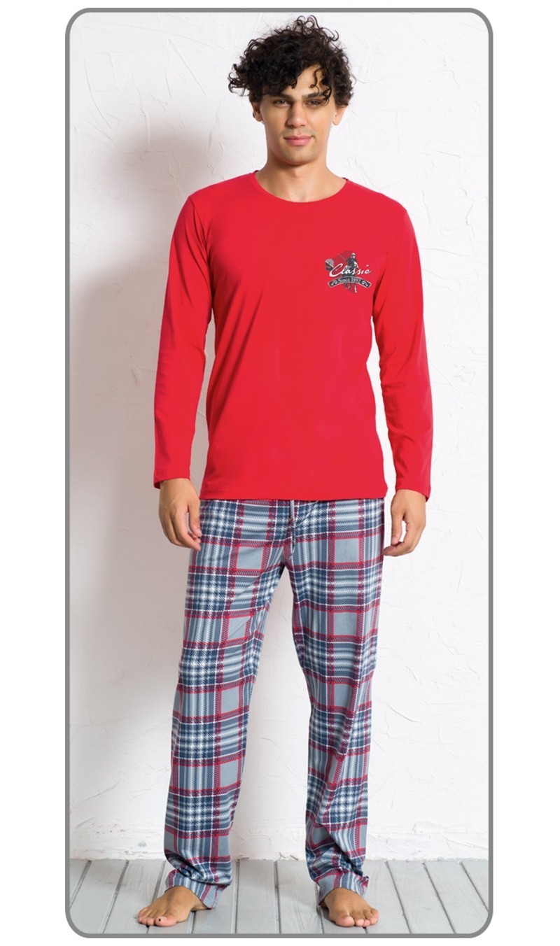 Pánské pyžamo dlouhé Denis 4169 - Gazzaz Barva: červená, Velikost: M