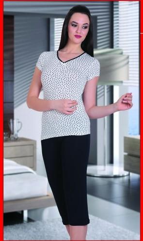 Dámské capri pyžamo COC 868 KK Cocoon Barva: tmavě modrá s bílou, Velikost: XL