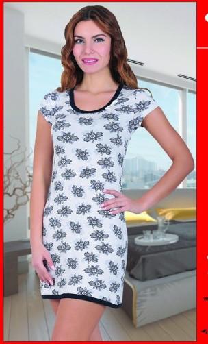 Dámská noční košile COC 875 KG Cocoon Barva: bílá/modrá, Velikost: XXL