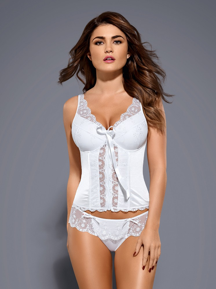Korzet Etheria corset - Obsessive Barva: bílá, Velikost: S/M