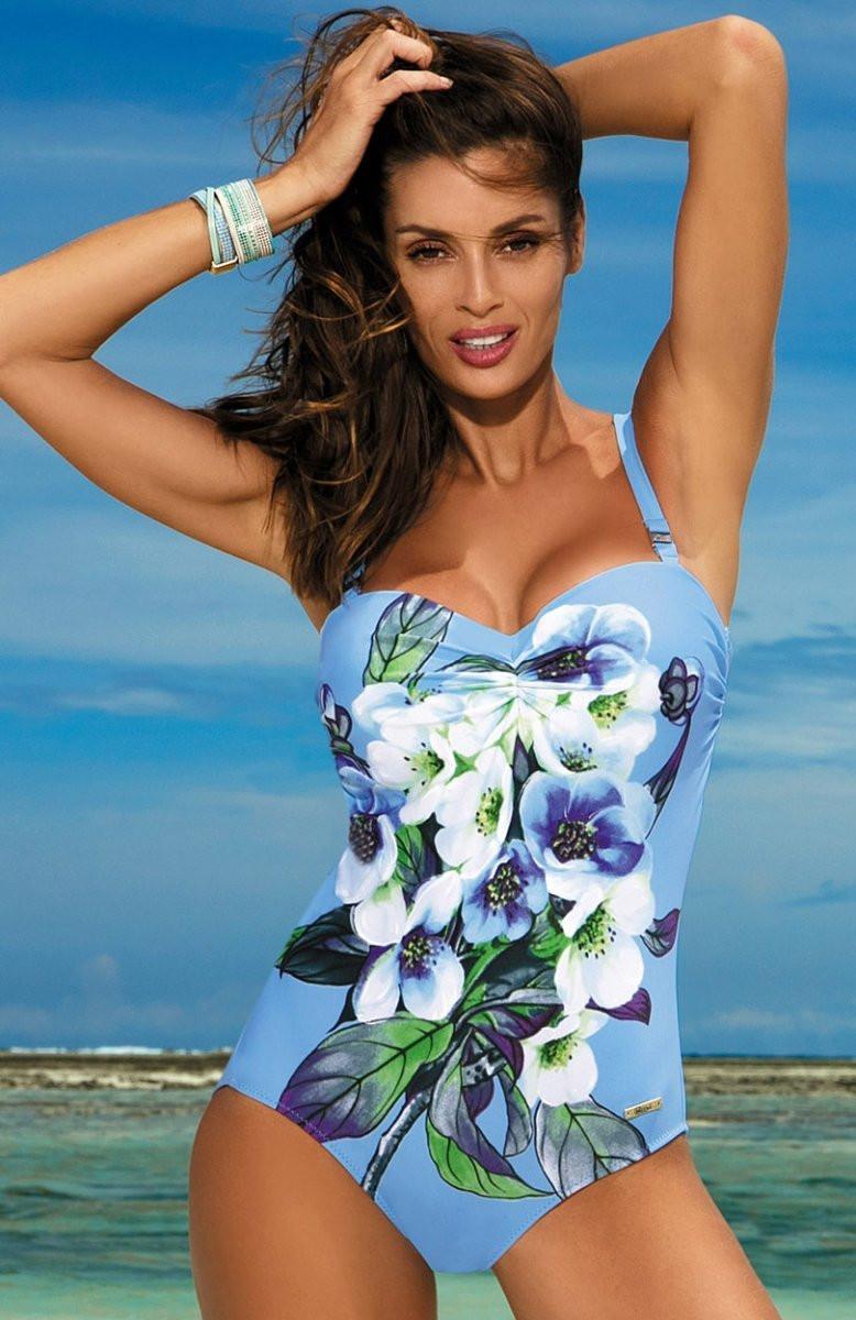 Dámské jednodílné plavky Rebecca M-422 - Marko Barva: černá s květy, Velikost: XL