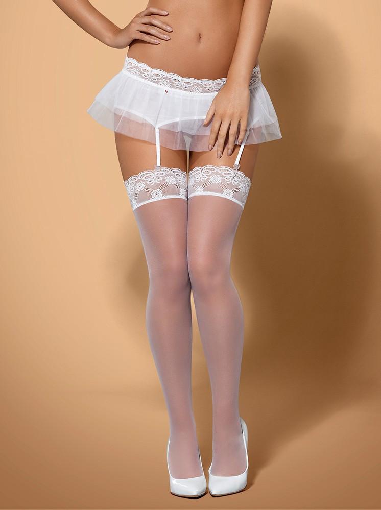 Punčochy Julitta stockings - Obsessive Barva: bílá, Velikost: L/XL