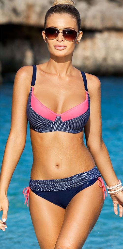 Dámské dvoudílné plavky Rafaela - Ewlon Barva: tmavě modrá, Velikost: 40F