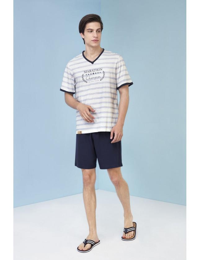 Pánské pyžamo Nestor 3213 - Vamp Barva: modro-bílá, Velikost: XL