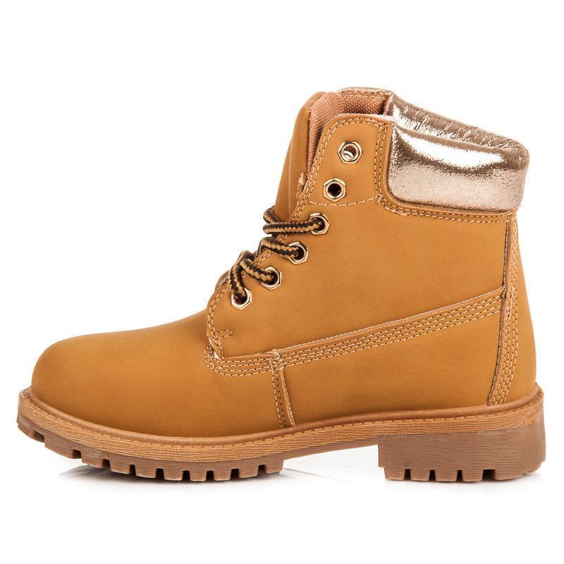 Dětské boty farmářky s horním lemem 59-031C - Via giulia Barva: camel, Velikost: 32