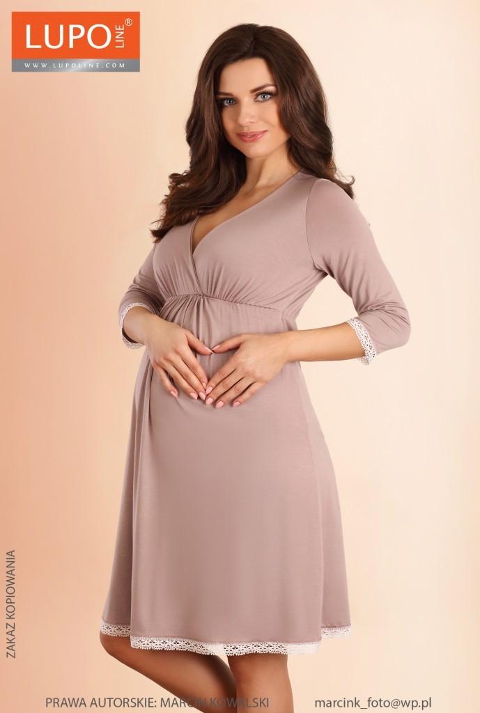 Dámská těhotenská košilka 1578 - LupoLine Barva: capuccino, Velikost: 36