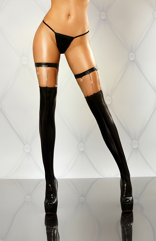Punčochy Chain stockings - Lolitta Barva: černá, Velikost: L/XL