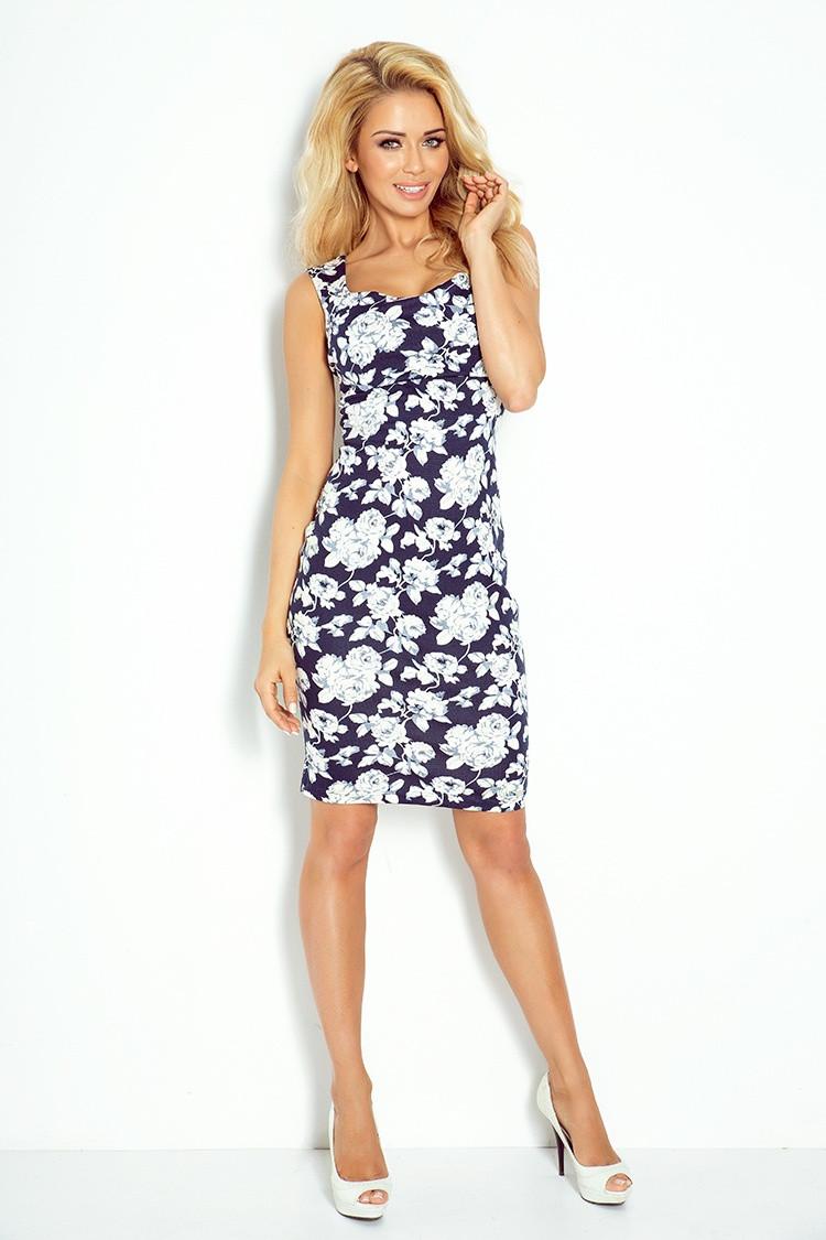 Dámské šaty 104-2 - Numoco Barva: tm. modrá-bílá, Velikost: XL