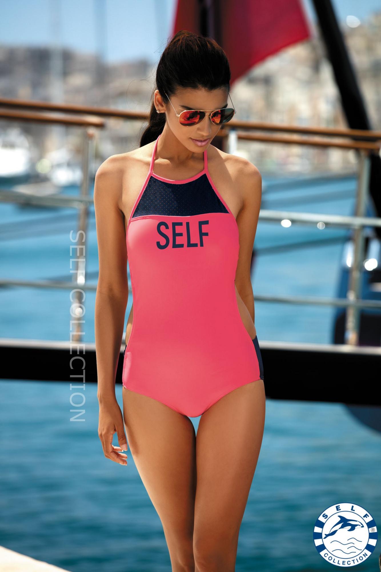 Dámské jednodílné plavky S45 - Self Barva: granátová, Velikost: 38/M
