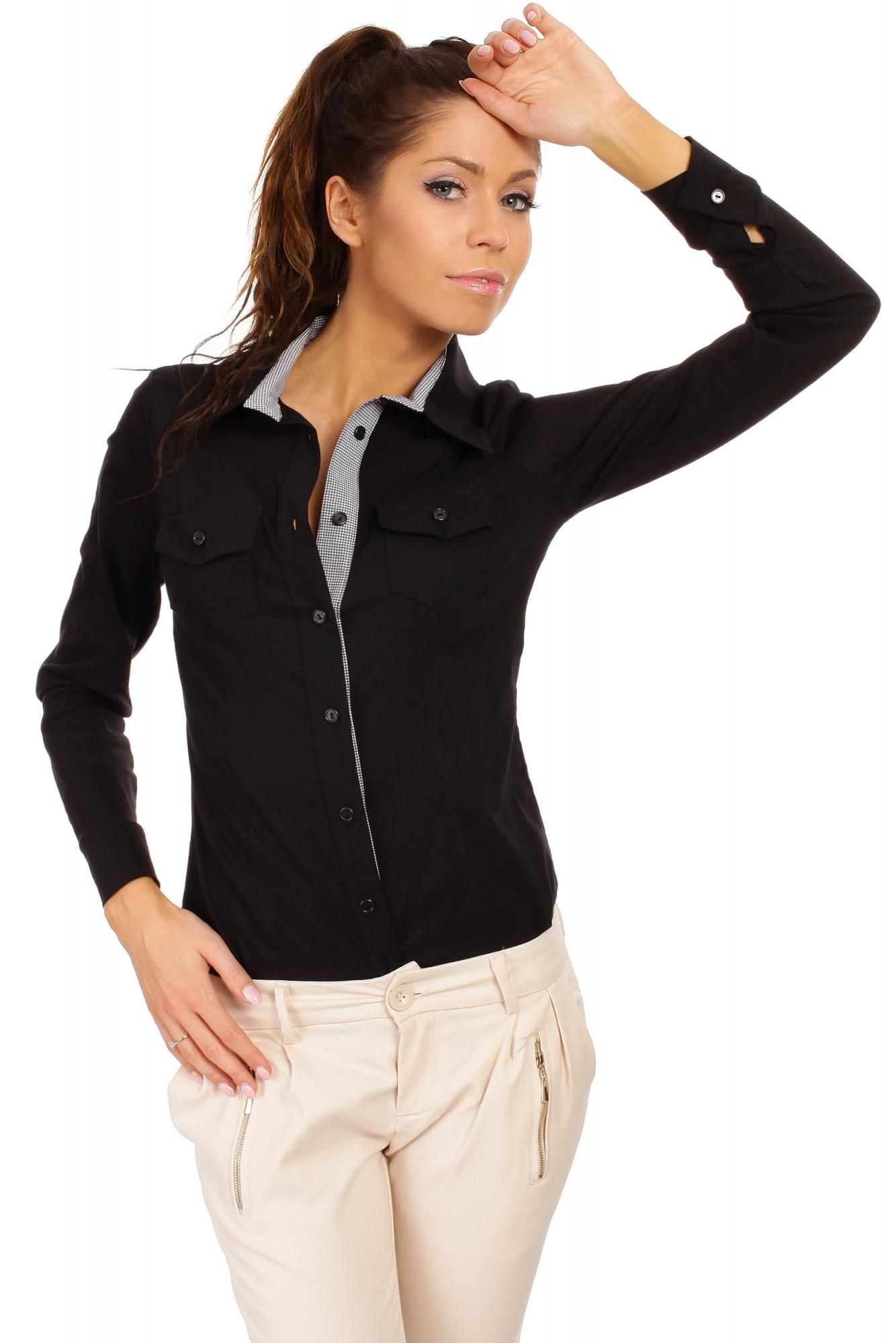 Dámská košile M021 - MOE Barva: černá, Velikost: 42
