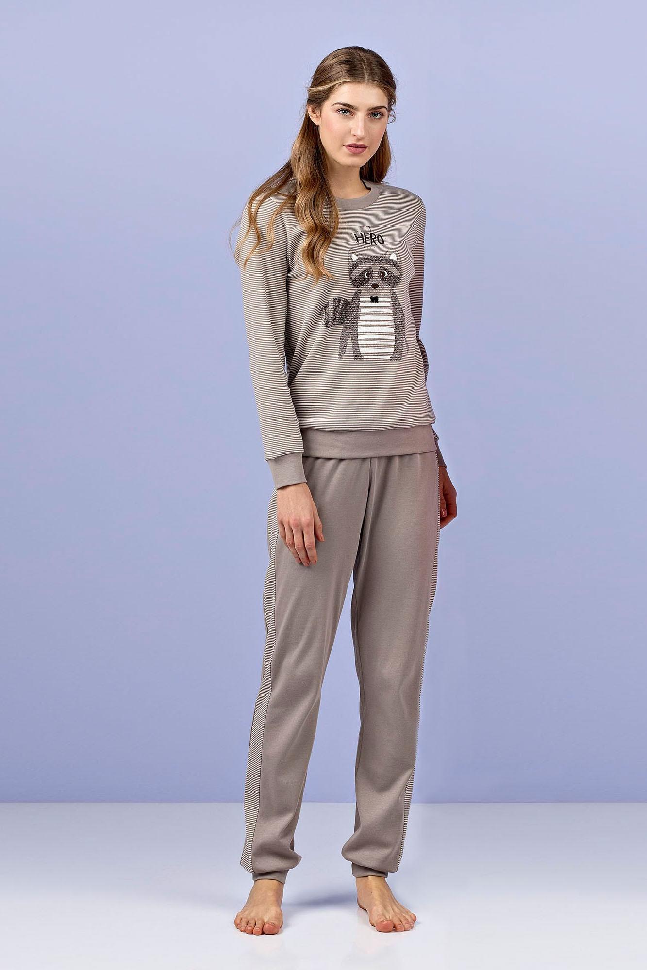 Dámské pyžamo 4964 - Vamp Barva: hnědá/proužky, Velikost: M