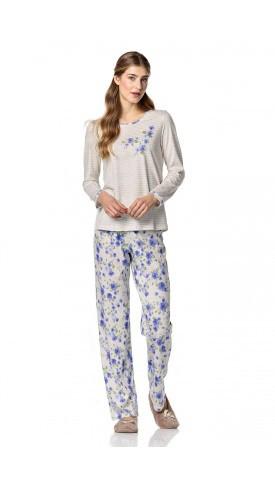 Dámské pyžamo 10-4734 - Vamp Barva: modrá - květy, Velikost: L
