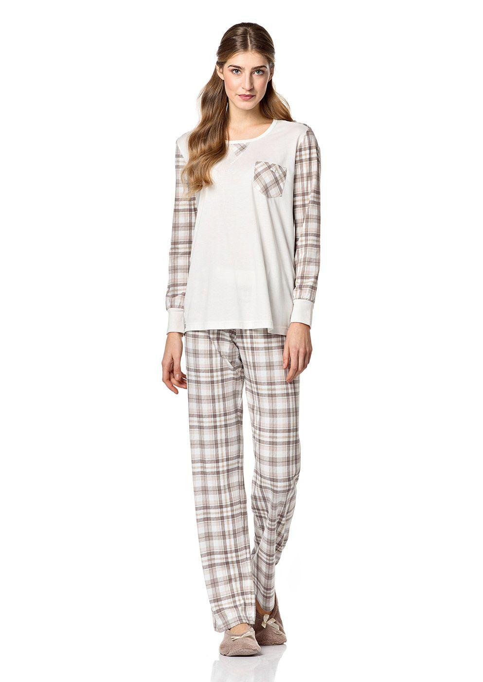 Dámské pyžamo 4711 Vamp Barva: krémová, Velikost: M