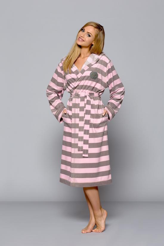 Dámský župan dlouhý Aple - L&L Barva: růžovo-bílá pruhovaný, Velikost: M