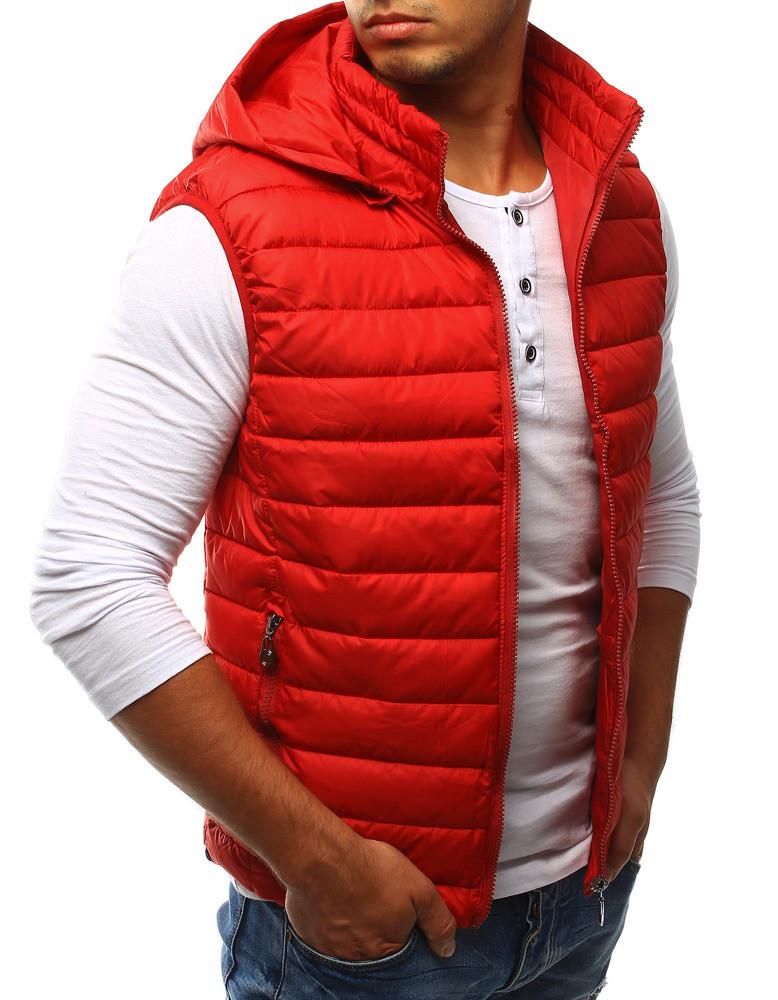 Pánská prošívaná vesta s kapucí HD1607 - Red Fireball Barva: červená, Velikost: XL