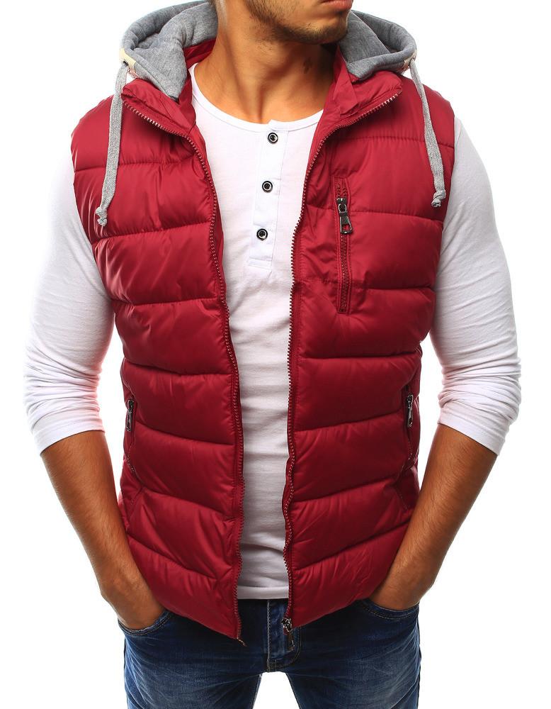 Pánská prošívaná vesta s kapucí HD 1609 - Red Fireball Barva: červená, Velikost: XL