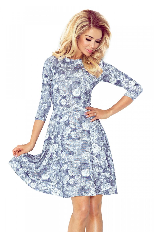 102277ed13e Dámské šaty SF 88-7 - Numoco modro-bílá   květinový vzor XL