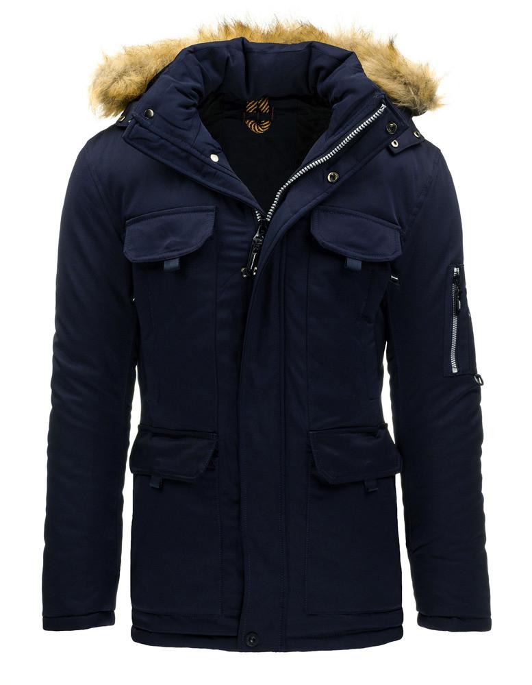 Pánský zimní kabát L-8259 - Sea City Barva: granátová, Velikost: 2XL