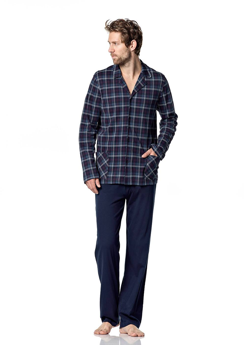 Pánské pyžamo 5041 - Vamp Barva: modrá/ káro, Velikost: XXL