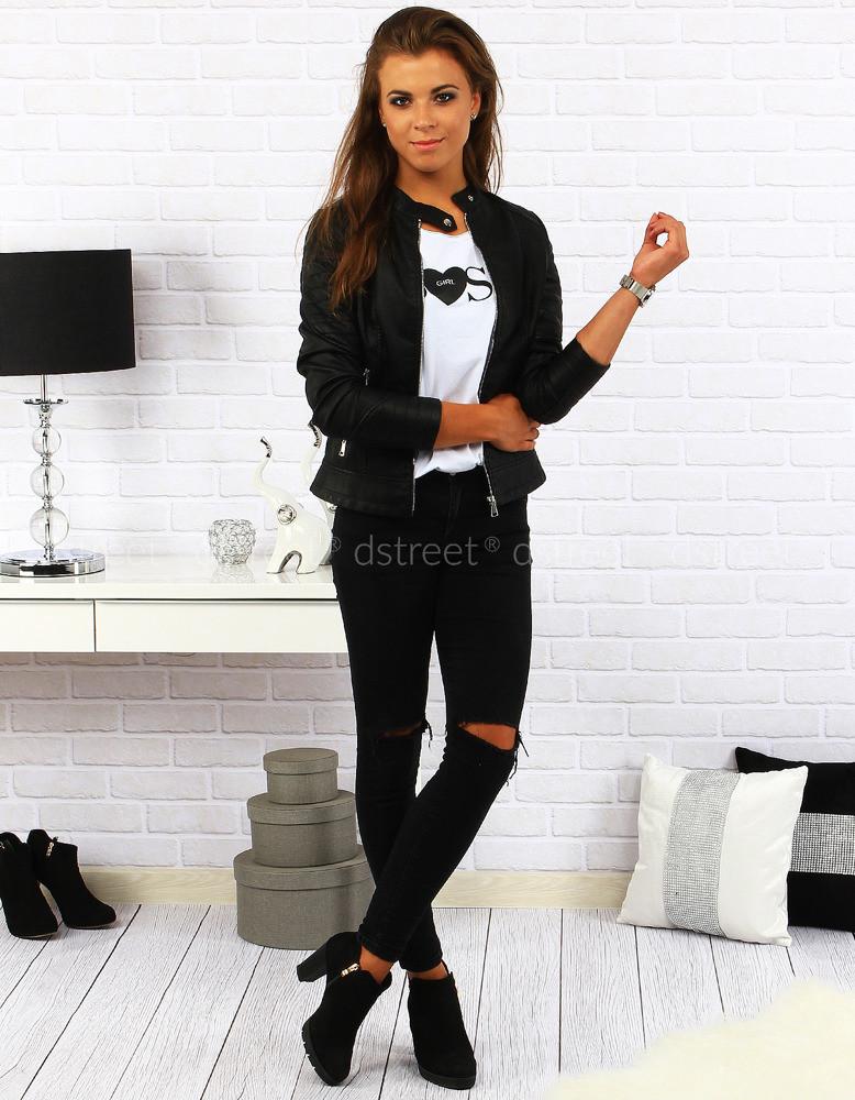 Dámská kožená bunda BOLAN88788 - FeiFa Barva  černá fd352cb9e97