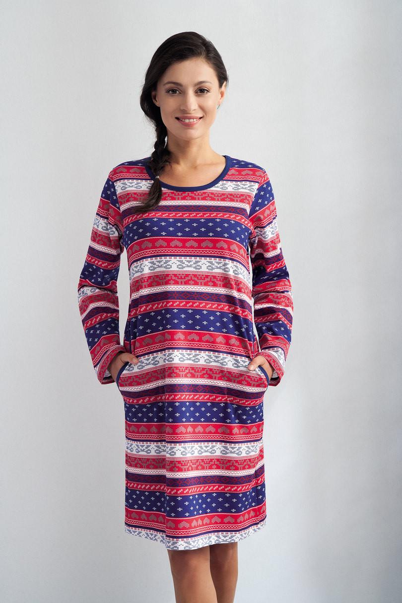 Dámská noční košile 140 - LUNA Barva: červeno-modrá, Velikost: XL