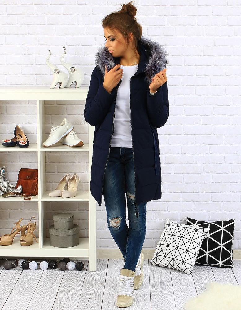 Dámský prošívaný zimní kabát s kapucí (ty0088) - YIXIANGSHUNV Barva: tmavě modrá, Velikost: XXL