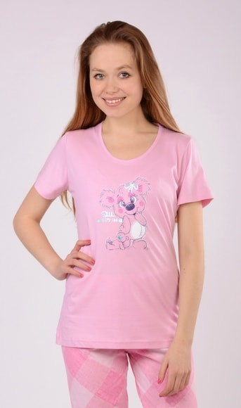 Dámské pyžamo capri Koala - Vienetta Barva: růžová, Velikost: M