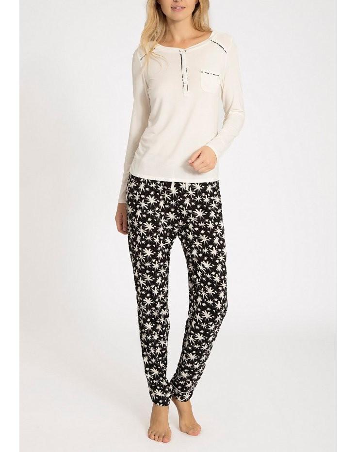 Dámské pyžamo QS5821E - Calvin Klein Barva: smetanová s černou, Velikost: L