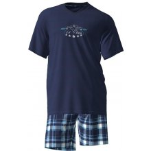 Pánské pyžamo 4902 - Vamp Barva: modrá s potiskem, Velikost: XXL
