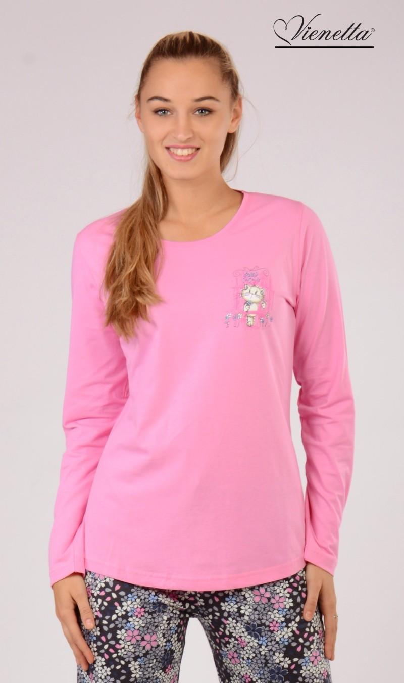 Dámské pyžamo Malá kočka 5143 - Vienetta Barva: růžová, Velikost: S