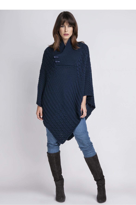 Dámské pončo SWE 071 - MKM knitwear design Barva: tmavě modrá, Velikost: uni