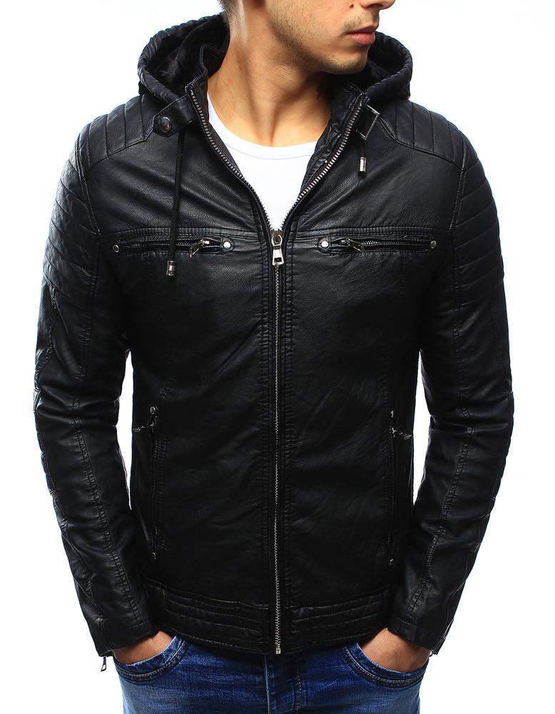 Pánská kožená bunda s kapucí JUN9119 (tx1660A) - Fei Fa fashion Barva: černá, Velikost: M