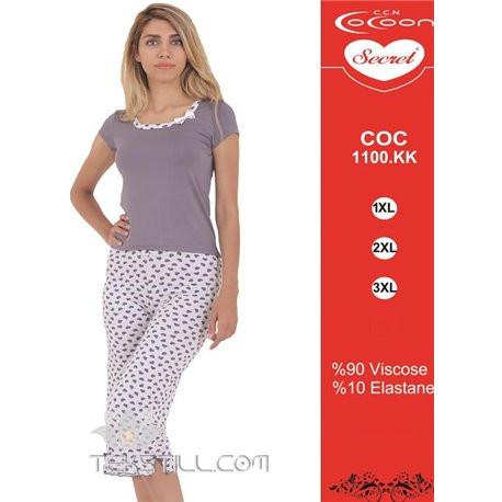 Dámské capri pyžamo 1100 KK Cocoon Barva: šedá s bílou, Velikost: XXL