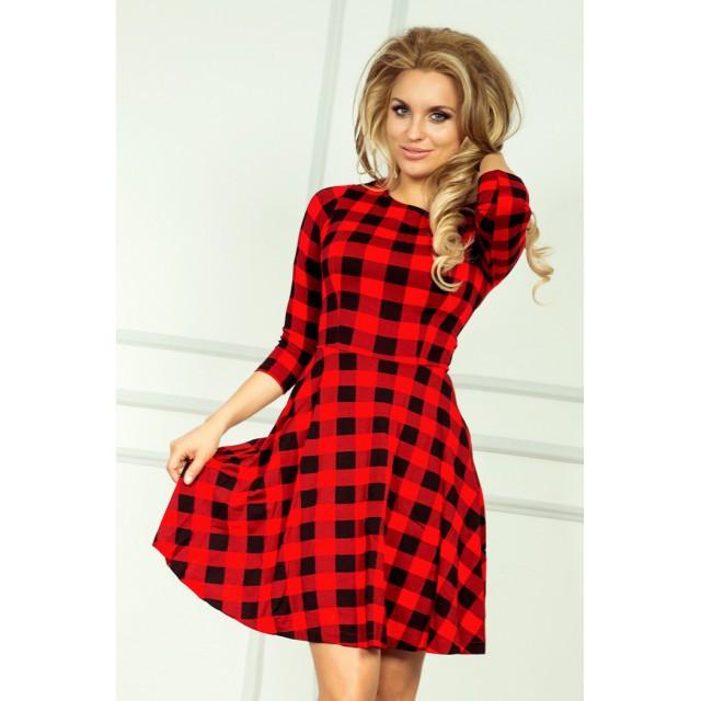 Dámské šaty 49-2 - Numoco Barva: červená kostka, Velikost: XXL