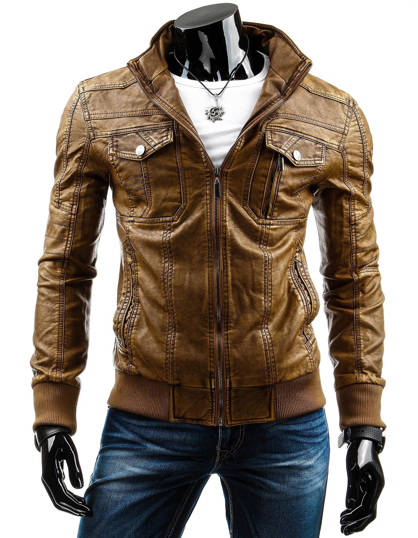Pánská kožená bunda 12680 (tx1873) - HTRANG Barva: hnědá, Velikost: 3XL