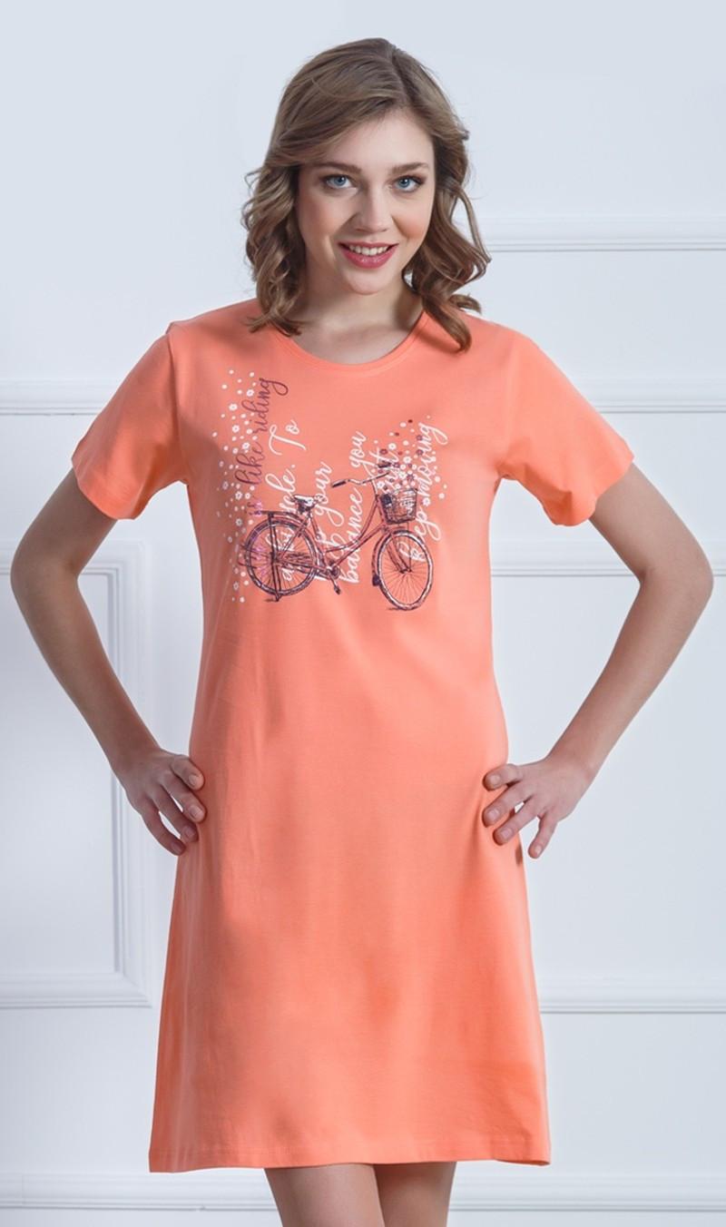 Dámská noční košile Kolo - Vienetta Barva: oranžová, Velikost: L