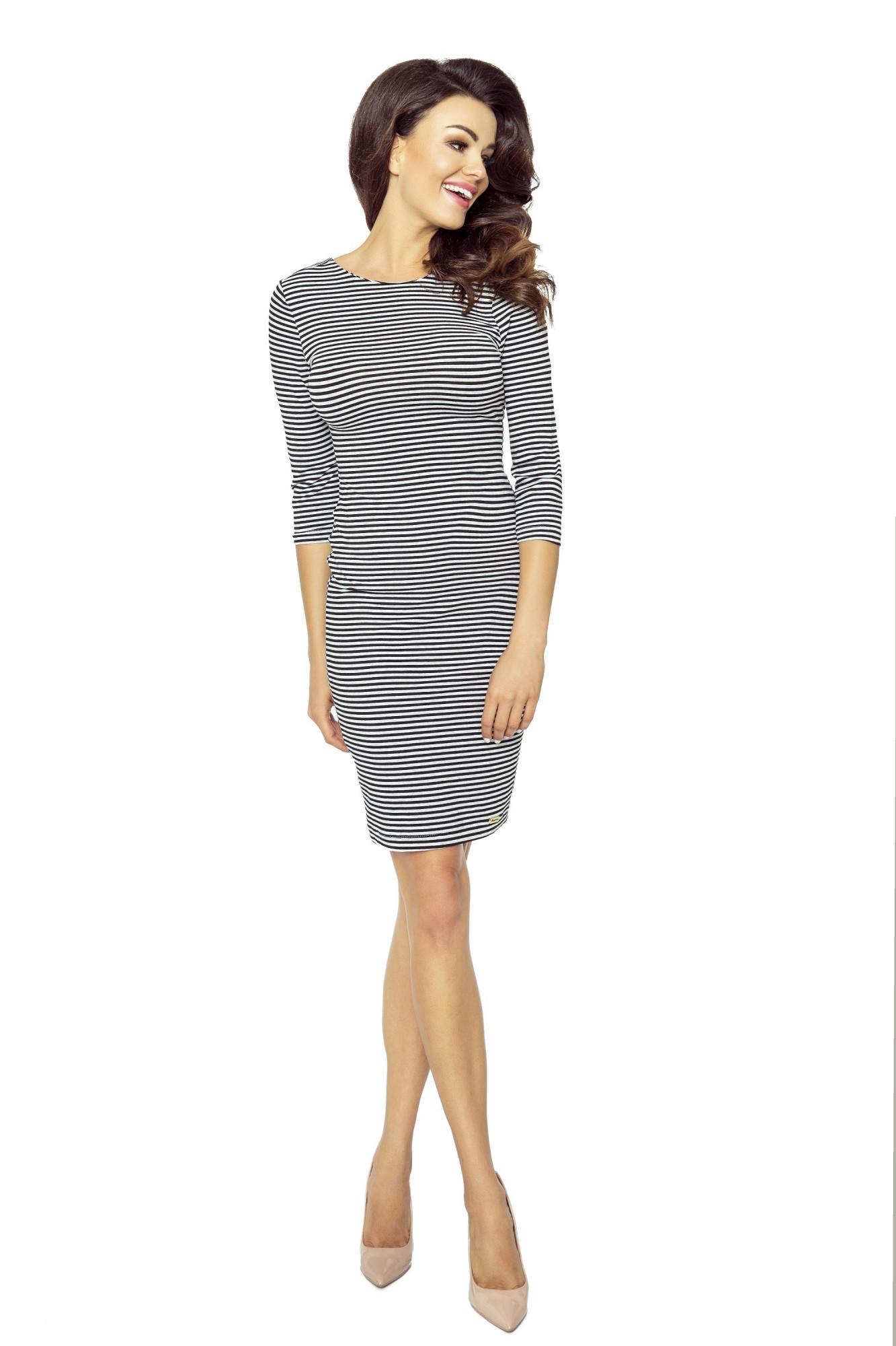 Dámské šaty M50628-CN16-1 - BERGAMO Barva: černo - bílá, Velikost: M
