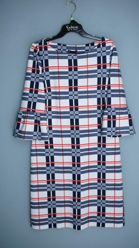 Šaty M2712 - Fabien bílá,červená, modrá 42