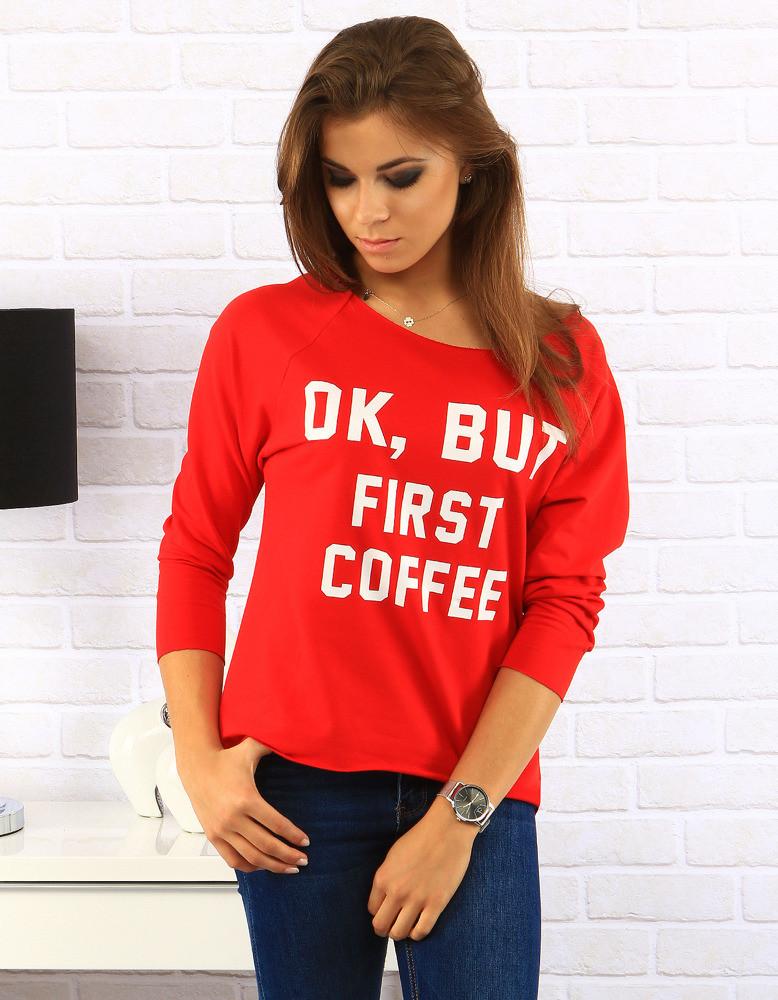 Červená halenka First Coffee (ry0170) - Best Look Barva: červená s potiskem, Velikost: uni