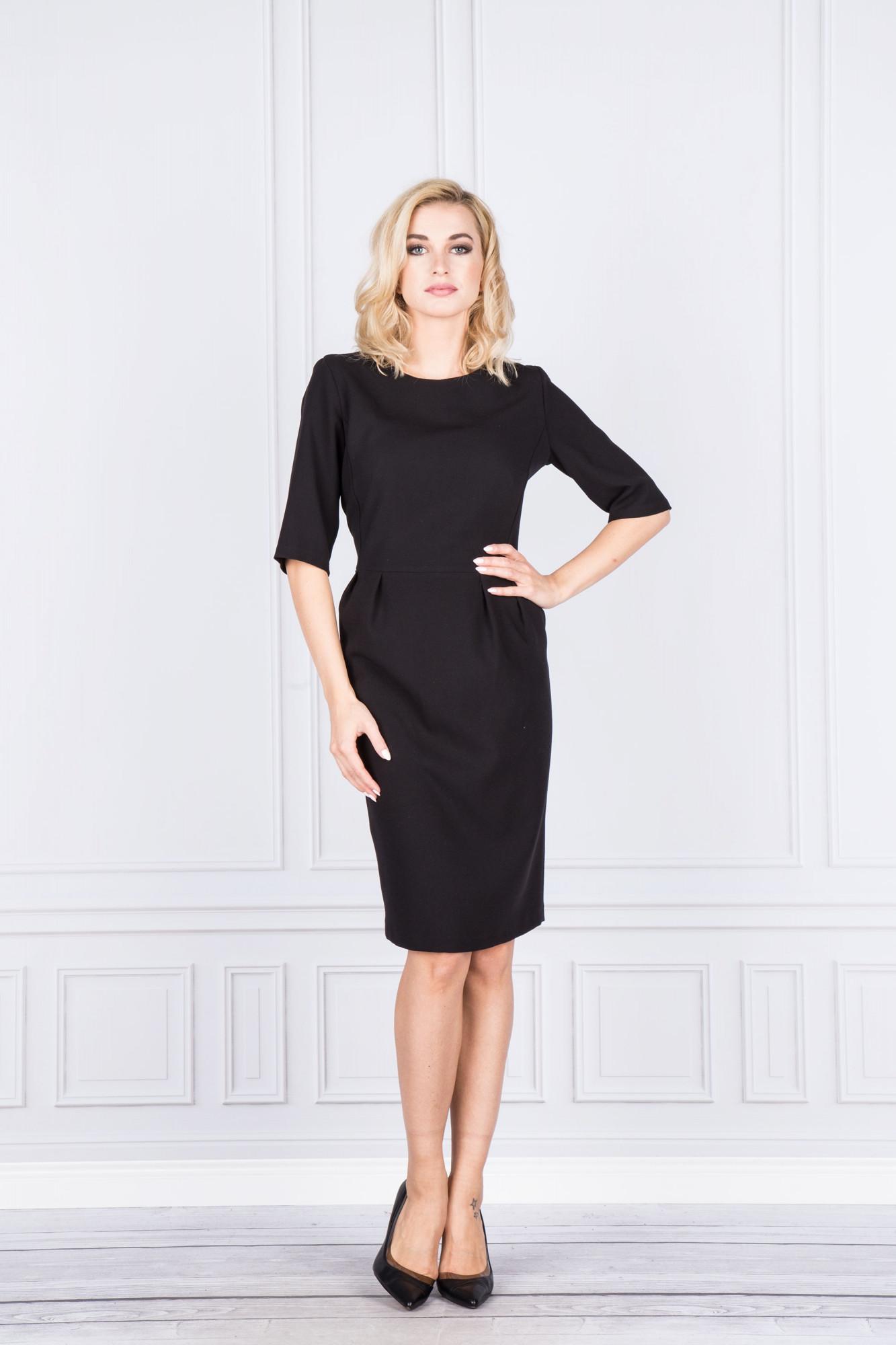 Dámské koktejlové šaty M37288 - FASONE Barva: černá, Velikost: 40