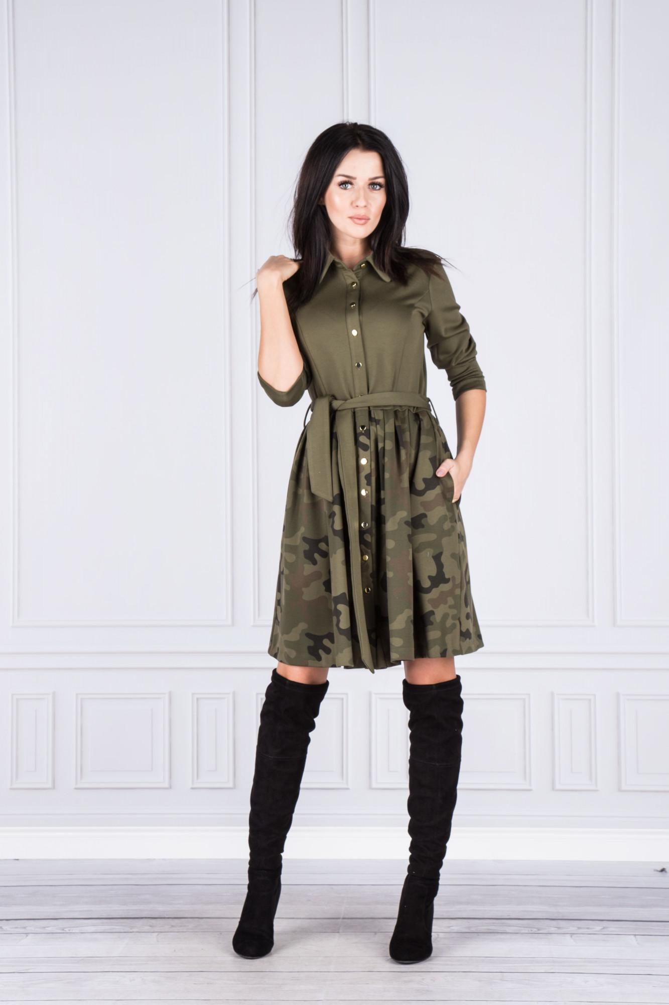 Dámské košilové šaty M41646 - POEME Barva: zelená-potisk, Velikost: 34