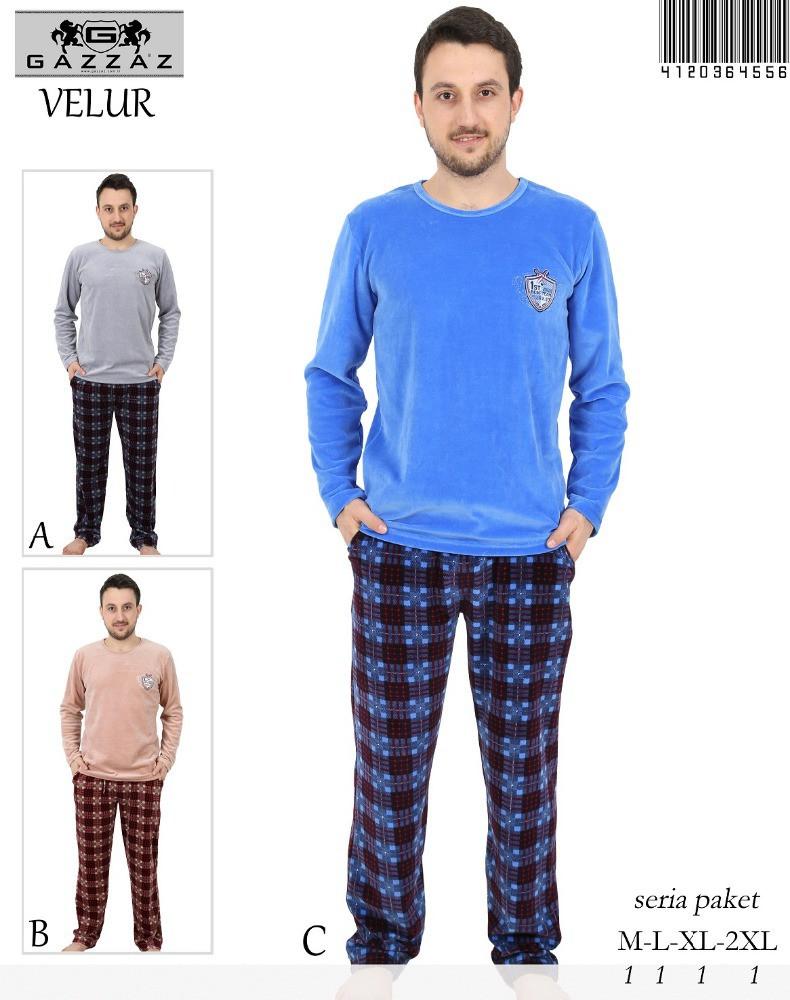Pánské teplé pyžamo 4556- Gazzaz Barva: šedá-modrá , Velikost: L