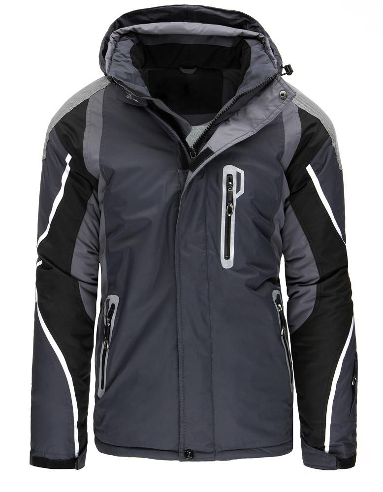 Pánská zimní lyžařská bunda s kapucí TT-8253 (tx1888) - GOODFRIENDS Barva: šedo - černá, Velikost: L