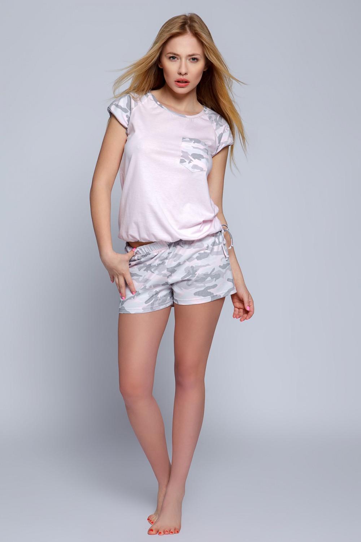Dámské pyžamo Military - Sensis Barva: růžová - šedá, Velikost: L